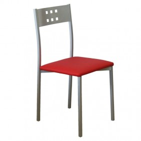 Sillas Costa color rojo polipiel metal cocina 86x41x47