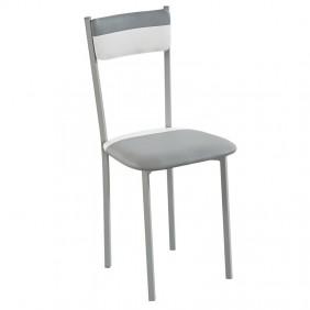Pack 4 sillas poliuretano color combinado blanco/gris