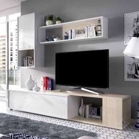 Mueble salon Obi blanco brillo y natural 180-230x180x41