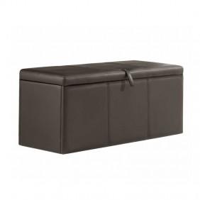 Baúl arcón asiento polipiel chocolate 90x40
