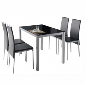 Pack mesa cristal + 4 sillas Negro Saona II