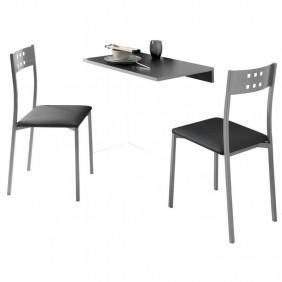 Conjunto mesa pared + 2 sillas cocina pequeña
