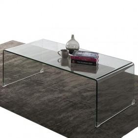 Mesa de centro cristal transparente curva 35x110x60 cm