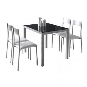 Conjunto mesa + 4 sillas cocina blanco y negro