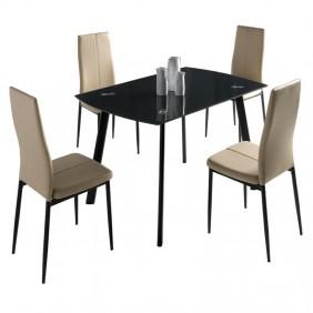 Conjunto mesa cristal + 4 sillas Brea
