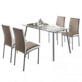Pack mesa cristal Dima + 4 sillas Meli