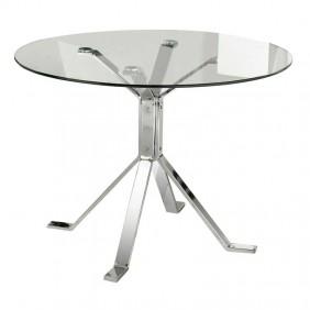 Mesa redonda cristal y cromo 100 cm