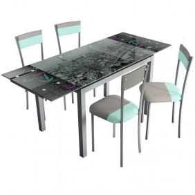 Pack mesa y 4 sillas cocina Gris/Menta