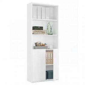 Estantería blanca 2 puertas oficina 197x76x33 cm