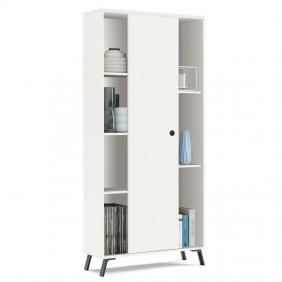 Librería blanca Kamet salón oficina 180x80x30 cm