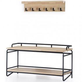 Pack recibidor bajo y perchero Plank color roble y negro