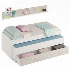 Cama nido Elliot con cajón + estante juvenil Billy color blanco