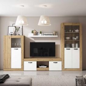 Mueble salón Argos color blanco y naturale estilo moderno