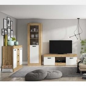 Muebles salón comedor Argos blanco y naturale