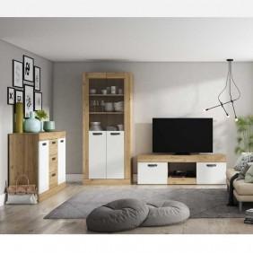 Muebles salón Argos color blanco y naturale moderno