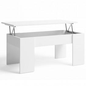 Mesa centro elevable Nieve color blanco 45x100x50 cm