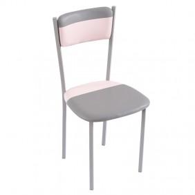 Silla rosa/gris poliuretano y metal cocina 89x43x45