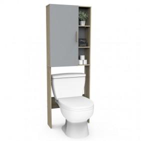 Mueble auxiliar Nacre baño aseo roble y gris