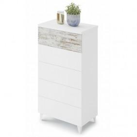 Comoda 5 cajones blanco y vintage 118x61x40 cm