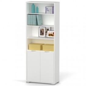 Librería Boston 1 armario color blanco 199x75x33 cm