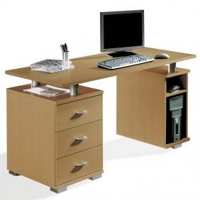 Mesa escritorio Agora color cerezo 3 cajones 75x137x65 cm