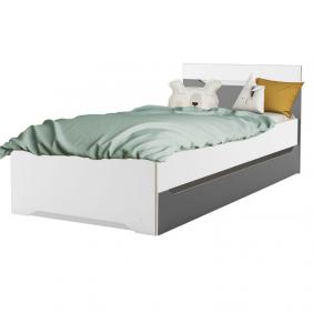 Cama con cajón Genius juvenil color blanco y gris 90x200cm