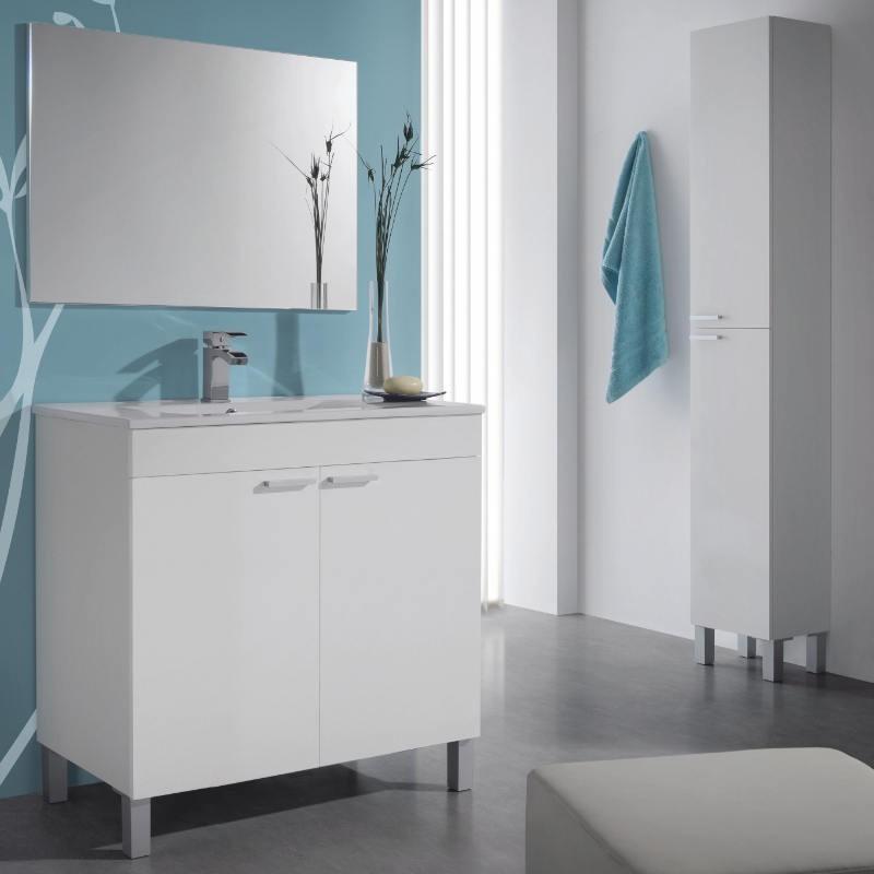 Columna para baño, color Blanco Brillo.