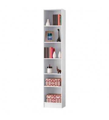 Estanteria o libreria de pie blanca perla con 5 estantes