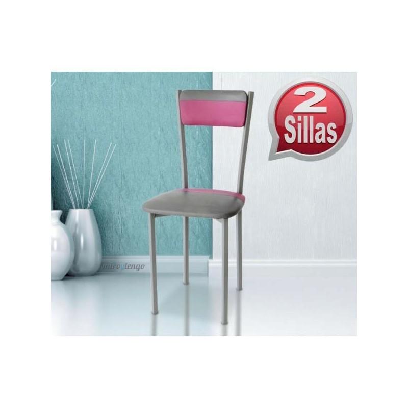 Pack mesa cocina y sillas Gris-Rosa