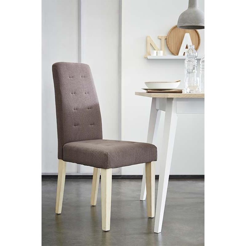 Pack 4 sillas tela color marron acolchadas y patas en madera de pino