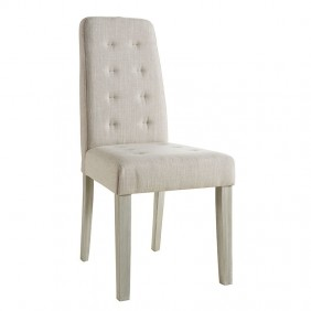 Pack 4 sillas color arena tapizadas en tela y patas en pino natural
