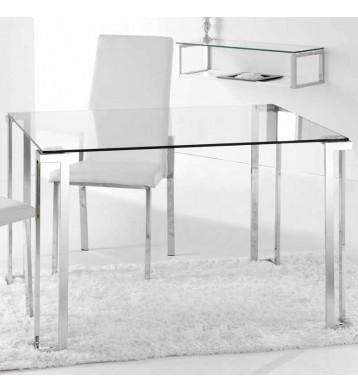 Mesa fija cristal y cromo rectangular 120 cm