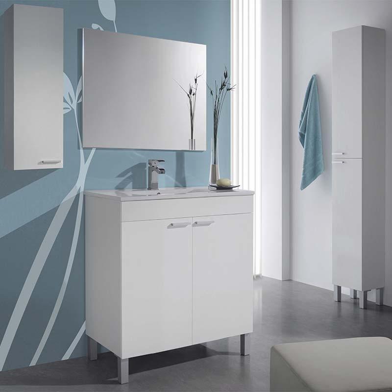 Pack mueble de baño con espejo + Columna + Armario Blanco