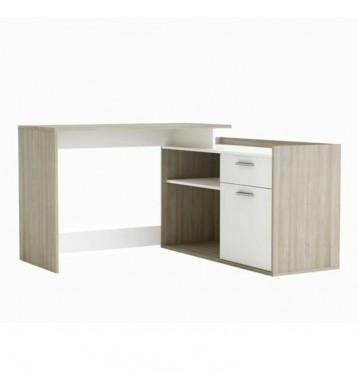 Escritorio de rincón 1 puerta y 1 cajón en color roble y blanco 115x77 cm