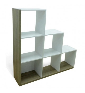 Estantería o biblioteca Scala con 6 compartimentos color blanco y roble 126x127x29 cm