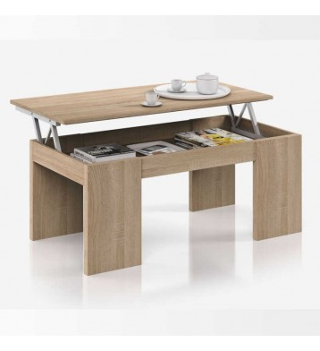 Mesa de centro elevable color roble canadian 43x100x50 cm