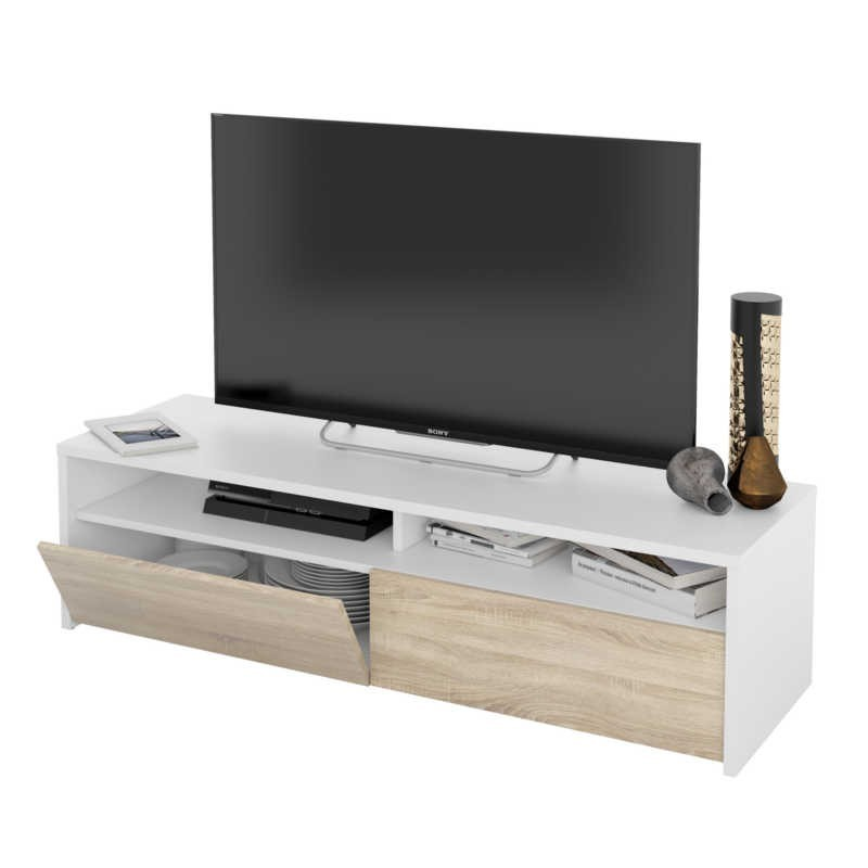 Mesa multimedia TV color blanco artik y roble canadian 130 cm