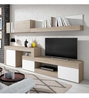 Mueble salón - comedor Argos moderno en color sable y blanco 295x164 cm