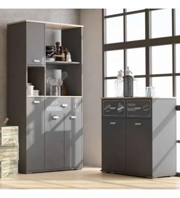Pack Asfeld 2 bufe para cocina gris grafito serigrafiados