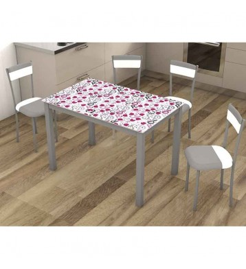 Pack mesa y 4 sillas cocina Raspberries