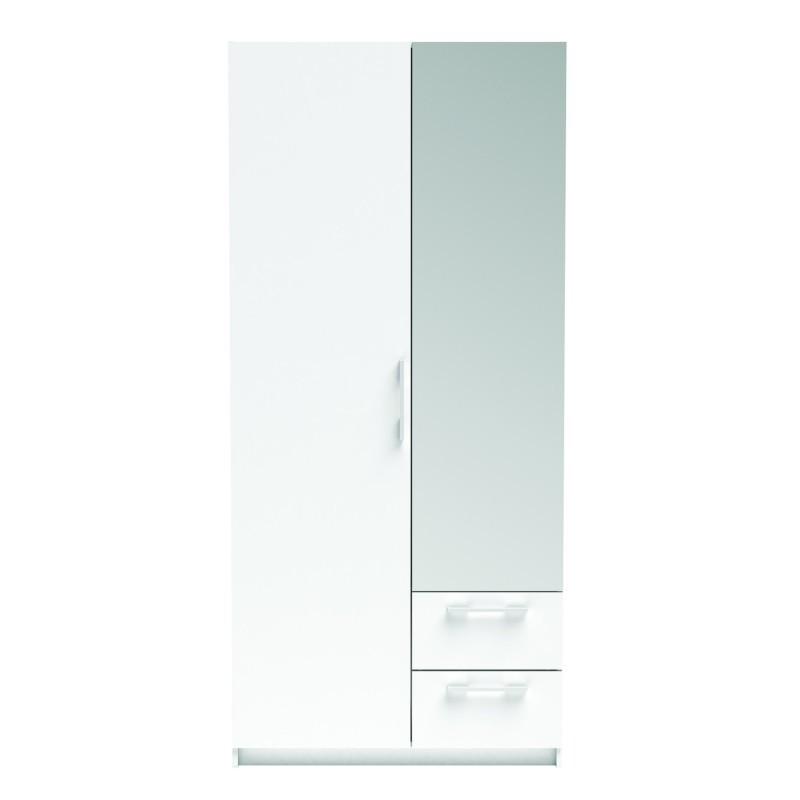 Armario 2 puertas 2 cajones blanco con espejo 203x93x55 cm