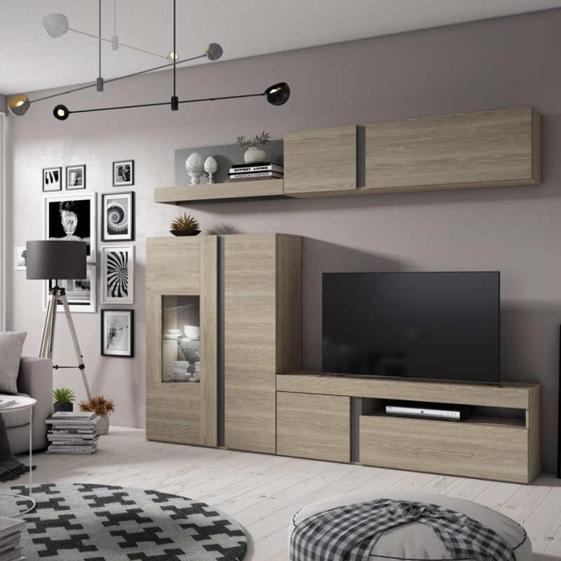 Mueble salón comedor Argos LED en color sable y pizarra 210x250 cm
