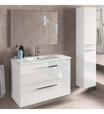 Muebles De Bano Columna.Muebles Bano Diseno Blanco Aruba Con Espejo Lavabo Ceramica Y Columna