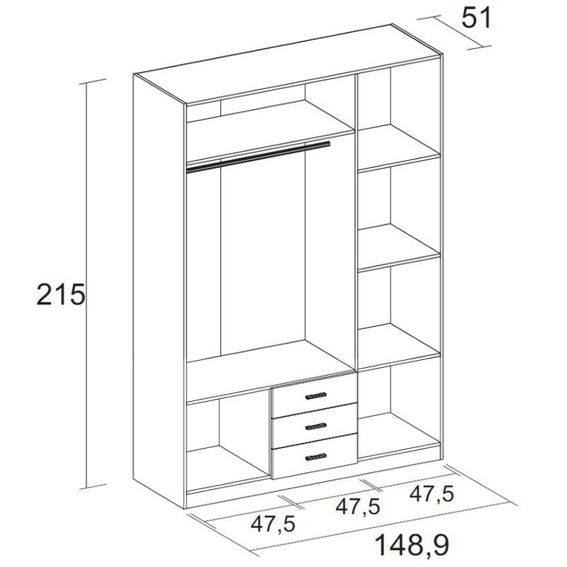 Armario Madrid blanco 3 cajones 3 puertas 216x150x53 cm