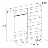 Armario Barcelona blanco puertas correderas 216x202x56 cm