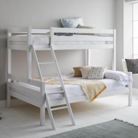 Litera Capricho blanca cama inferior 135x190 cm y cama superior 90x190 cm