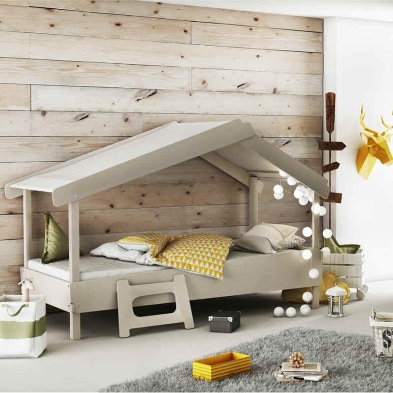 Cama infantil Casa 90x200 cm color gris claro unisex