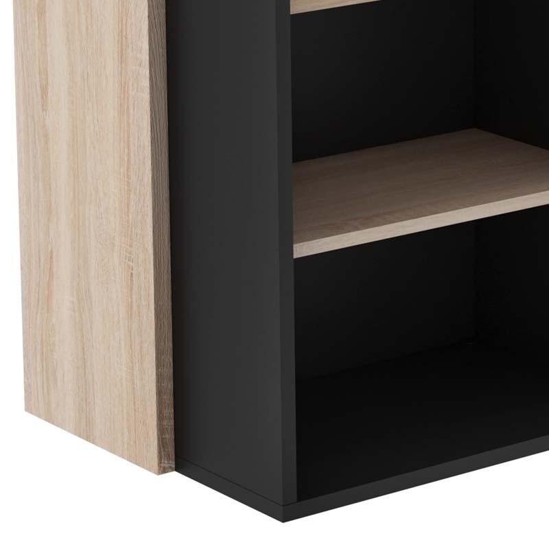 Mueble bar Dioniso color roble y negro con botellero