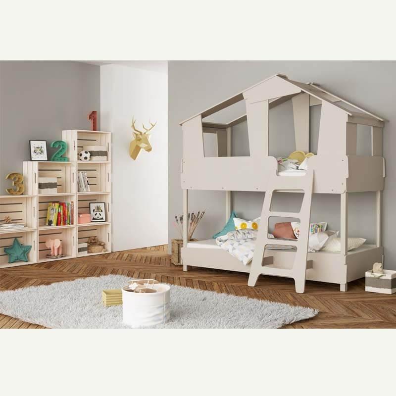 Cama infantil Casa Arbol litera de madera color beige