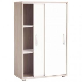 Armario 2 puertas correderas Nano color blanco y roble